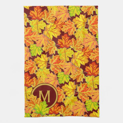 Fall Monogram Maple Leaves Autumn Foliage Pattern Hand Towel