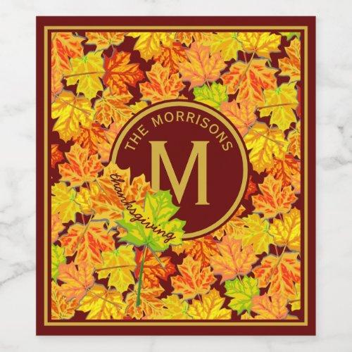 Fall Monogram Maple Leaves Autumn Foliage Pattern Wine Label