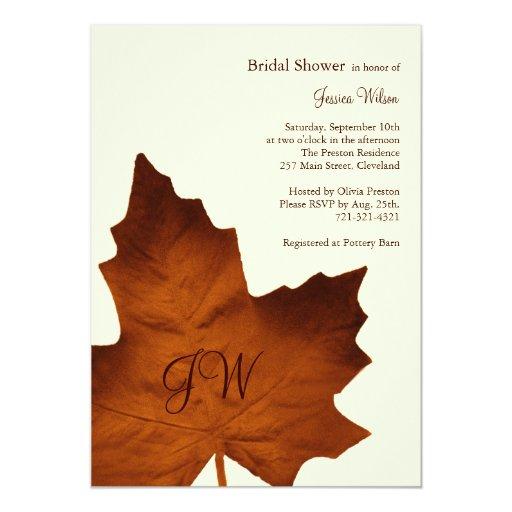 Fall Monogrammed Bridal Shower Invitation orange