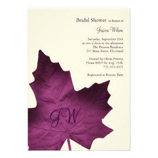 Fall Monogrammed Bridal Shower Invitation (purple)