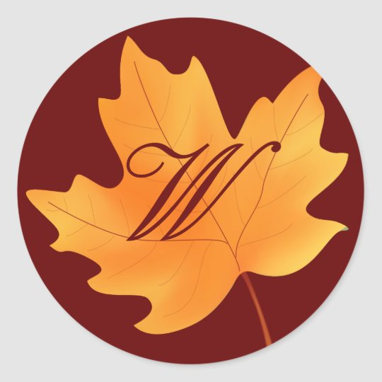 Fall Monogrammed Classic Round Sticker
