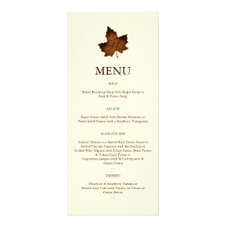 Fall Monogrammed Menu in brown Custom Rack Cards