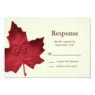 Fall Monogrammed RSVP (red) Card