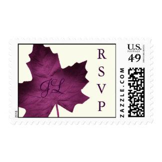 Fall Monogrammed RSVP Stamp (purple)