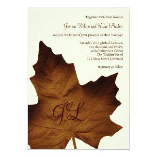 Fall Monogrammed Wedding Invitation (brown)