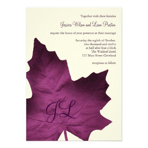 Fall Monogrammed Wedding Invitation (purple)