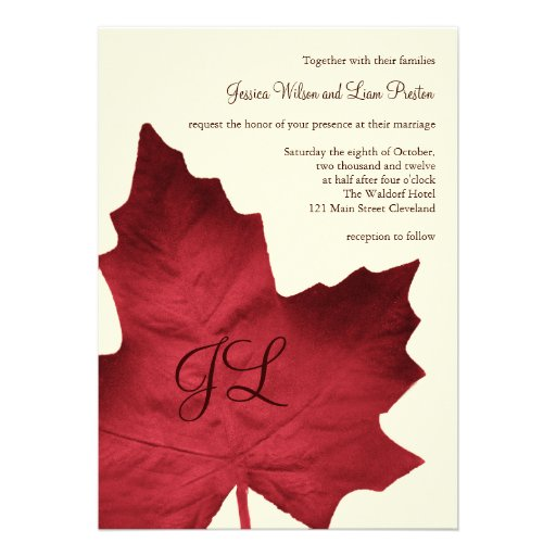 Fall Monogrammed Wedding Invitation (red)