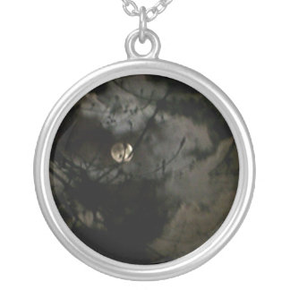 Fall Moon Silver Plated Necklace