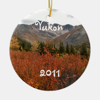 Fall Mountain Landscape; Yukon Souvenir Double-Sided Ceramic Round Christmas Ornament