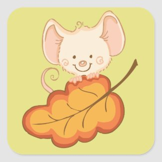Fall Mouse Baby Shower Stickers