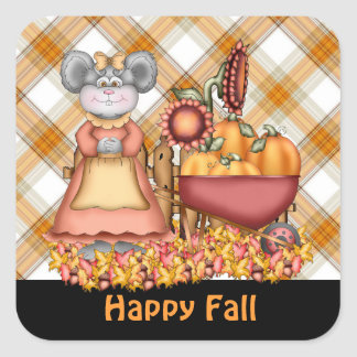 Fall Mouse Seasonal cartoon sticker