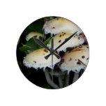 Fall Mushrooms - Photograph Round Wall Clock