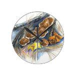 Fall Mushrooms - watercolor pencil Round Wall Clocks