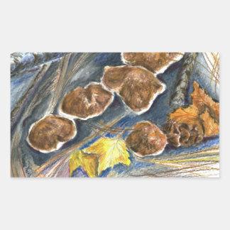 Fall Mushrooms - watercolor pencil Rectangular Sticker