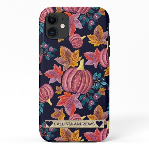 Fall Navy Pumpkin Leaves Watercolor Monogram iPhone 11 Case