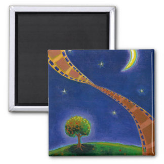 Fall night movie art fun painting for film lovers 2 inch square magnet
