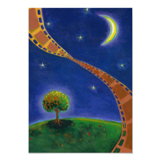 Fall night movie art fun painting for film lovers card