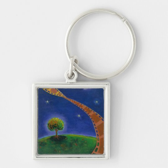 Fall night movie art fun painting for film lovers keychain