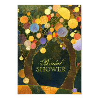 Fall Nocturnal Love Trees Bridal Shower Invitation