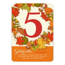 Fall Number Birthday Invitations