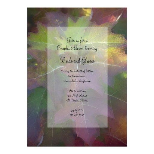 Fall Oak Leaf Hydrangea Couples Wedding Shower Personalized Announcement