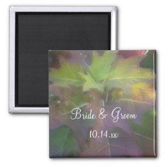 Fall Oak Leaf Hydrangea Wedding 2 Inch Square Magnet