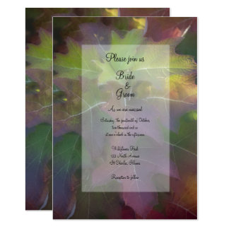 Fall Oak Leaf Hydrangea Wedding Invitation