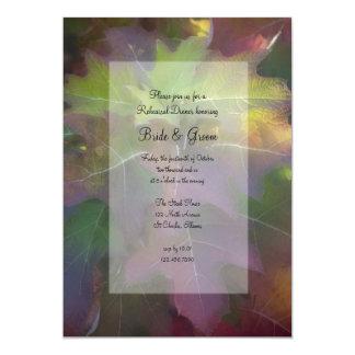 Fall Oak Leaf Hydrangea Wedding Rehearsal Dinner Card
