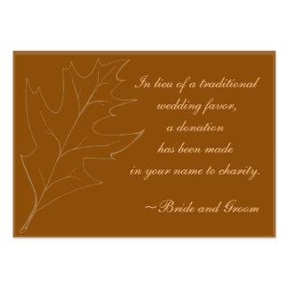 Fall Oak Leaf Wedding Charity Favor Card