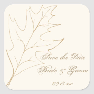 Fall Oak Leaf Wedding Save the Date Envelope Seal Square Sticker