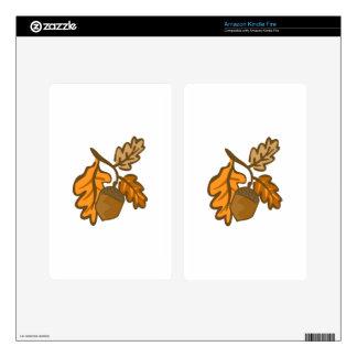 Fall Oak Leaves Acorn Kindle Fire Decals