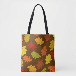 Fall Oak Leaves Brown All-Over-Print Tote