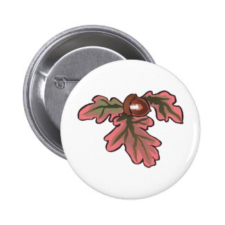FALL OAK LEAVES 2 INCH ROUND BUTTON
