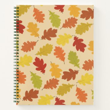Beach Themed Fall Oak Leaves Spiral Notebook