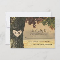 Fall Oak Tree Country Rustic Wedding RSVP Cards