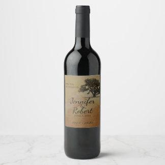 Fall Oak Tree Lantern Wedding Wine Label
