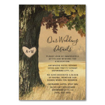 Fall Oak Tree Rustic Wedding Enclosure Cards