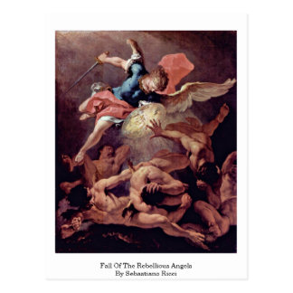 Fall Of The Rebellious Angels By Sebastiano Ricci Postcard
