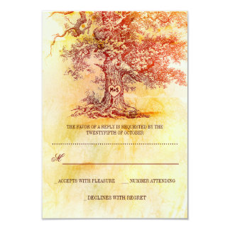 fall old tree rustic wedding RSVP cards