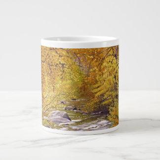 Fall on Bear Creek Oil Landscape Painting Large Coffee Mug