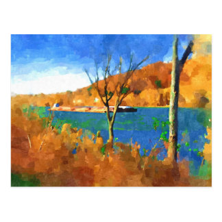 Fall on the Ohio watercolor art Postcard