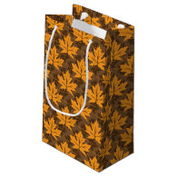 Fall orange and brown maple leaves small gift bag