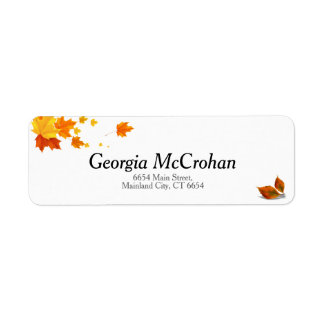 Fall Orange Red Leaves Return Address Label