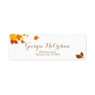 Fall Orange Red Leaves Return Address Label