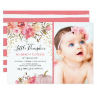 Fall Our Little Pumpkin 1st Birthday Party Invitation