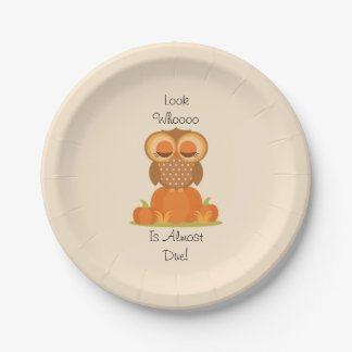Fall Owl Baby Shower Plates