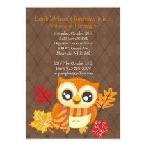 Fall Owl Birthday Party Invitation