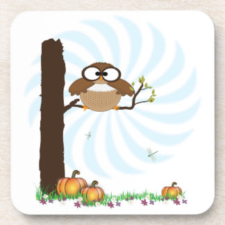 Fall Owl Cork Coaster