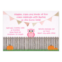 Fall Owl on Fence Pink Birthday Invitation