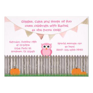 Fall Owl on Fence Pink Birthday Invitation